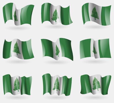kingston: Set of Norfolk Island flags in the air. Vector illustration Illustration