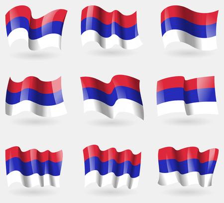 republika: Set of Republika Srpska flags in the air. Vector illustration
