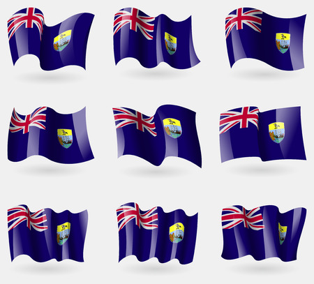 retrospective: Set of Saint Helena flags in the air. Vector illustration