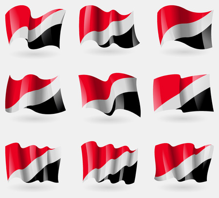symbolics: Set of Sealand Principality flags in the air. Vector illustration
