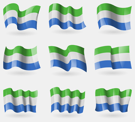 correctly: Set of SIERRA lEONE flags in the air. Vector illustration