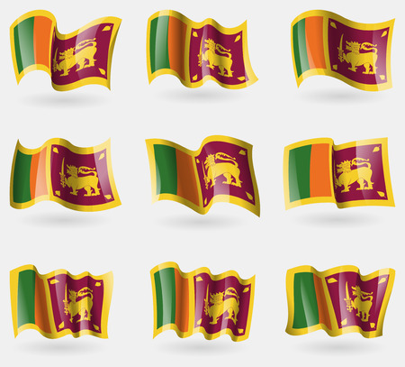 sri: Set of Sri Lanka flags in the air. Vector illustration
