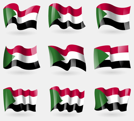 proportional: Set of Sudan flags in the air. Vector illustration