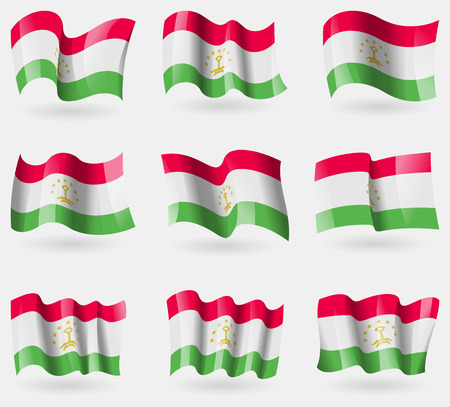 correctly: Set of Tajikistan flags in the air. Vector illustration