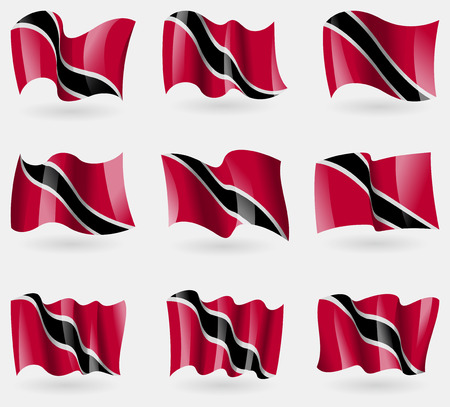 trinidadian: Set of Trinidad and Tobago flags in the air. Vector illustration