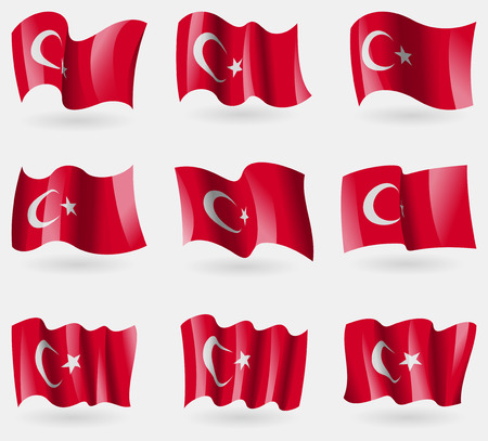 ethnical: Set of Turkey flags in the air. Vector illustration