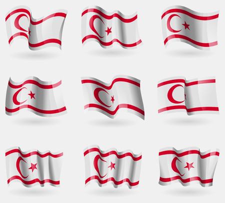 Set of Turkish Northern Cyprus flags in the air. Vector illustration