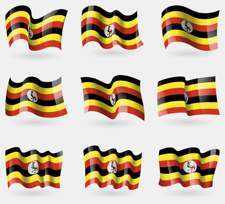 ugandan: Set of Uganda flags in the air. Vector illustration