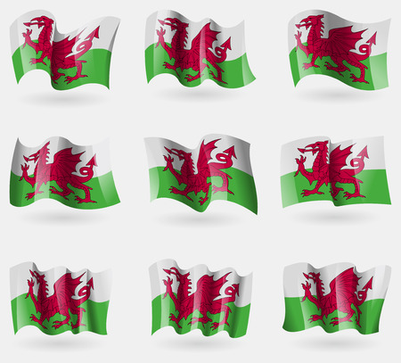 cymru: Set of Wales flags in the air. Vector illustration