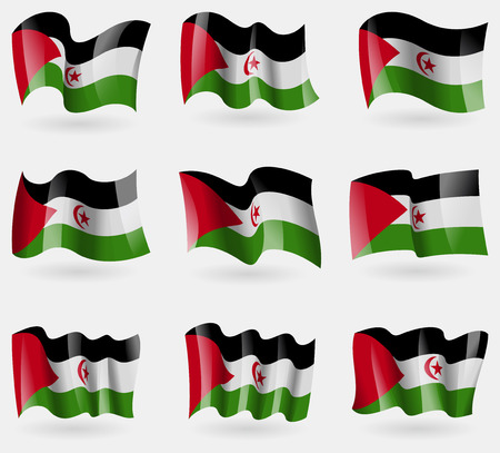 landlocked country: Set of Western Sahara flags in the air. Vector illustration