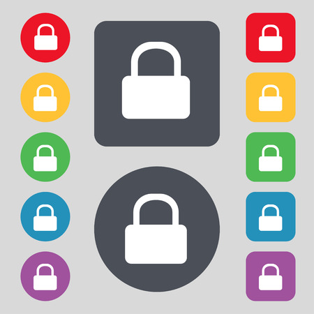 pad lock: Pad Lock icon sign. A set of 12 colored buttons. Flat design. Vector illustration