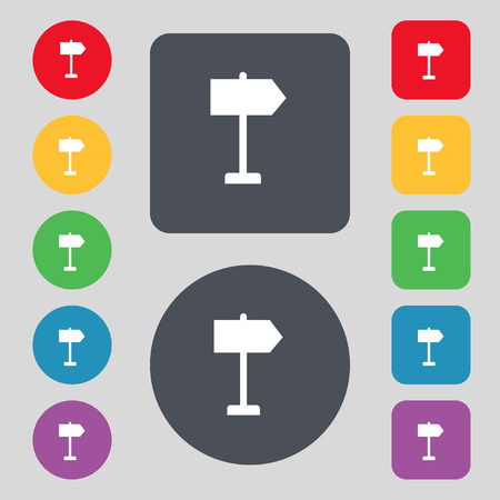 designator: Signpost icon sign. A set of 12 colored buttons. Flat design. Vector illustration