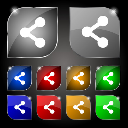 regular tetragon: Share icon sign. Set of ten colorful buttons with glare. Vector illustration Illustration