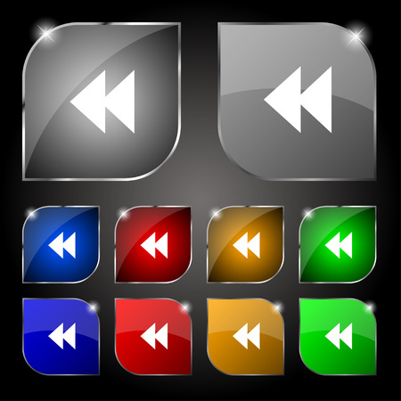 rewind: rewind icon sign. Set of ten colorful buttons with glare. Vector illustration