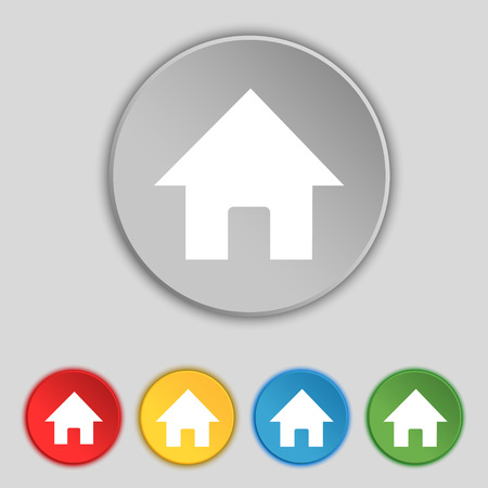 main: Home, Main page icon sign. Symbol on five flat buttons. Vector illustration
