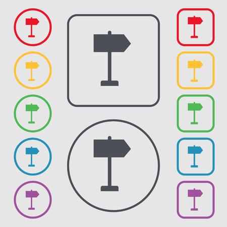 designator: Orientaci�n de los iconos de signo. s�mbolo en el botones cuadrados con Marco redondo y. Ilustraci�n vectorial