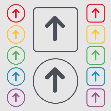Arrow up, This side up icon sign. symbol on the Round and square buttons with frame. Vector illustration