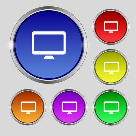 widescreen: Computer widescreen monitor icon sign. Round symbol on bright colourful buttons. Vector illustration