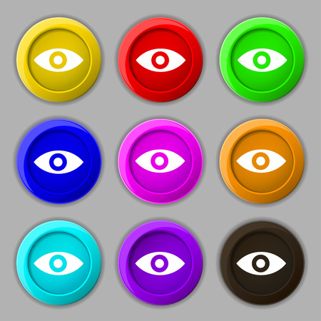 Eye, Publish content, sixth sense, intuition icon sign. symbol on nine round colourful buttons. Vector illustration