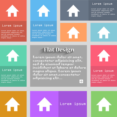 page long: Home, Main page icon sign. Set of multicolored buttons. Metro style with space for text. The Long Shadow Vector illustration