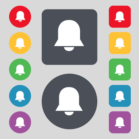 wake up call: Alarm bell icon sign. A set of 12 colored buttons. Flat design. Vector illustration Illustration