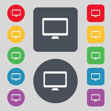widescreen: Computer widescreen monitor icon sign. A set of 12 colored buttons. Flat design. Vector illustration