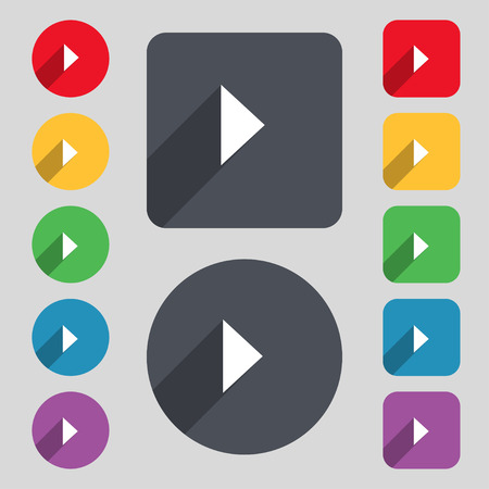 long play: play button icon sign. A set of 12 colored buttons and a long shadow. Flat design. Vector illustration Illustration