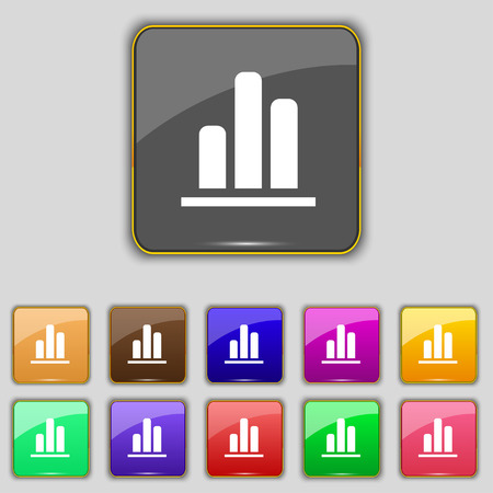 upturn: Growth and development concept. graph of Rate icon sign. Set with eleven colored buttons for your site. Vector illustration