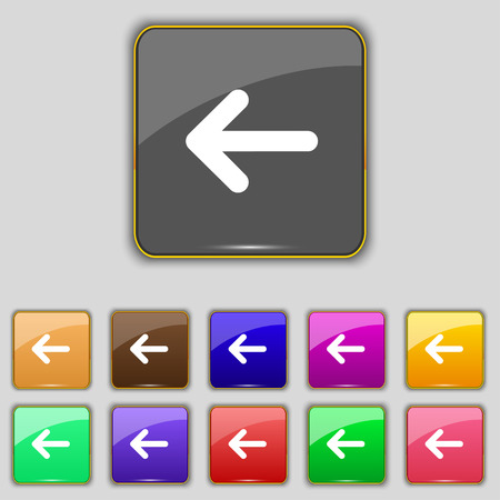 way out: Arrow left, Way out icon sign. Set with eleven colored buttons for your site. Vector illustration Illustration