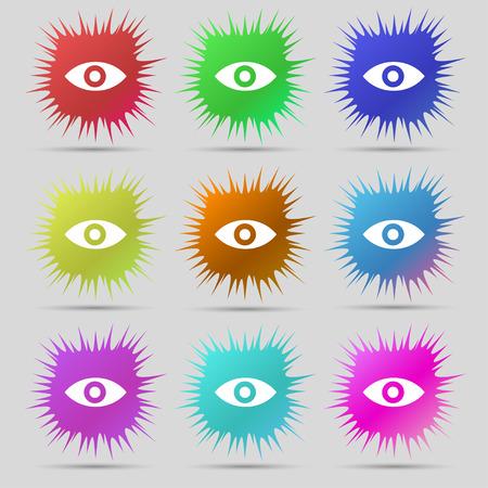 sixth sense: Eye, Publish content, sixth sense, intuition icon sign. A set of nine original needle buttons. Vector illustration