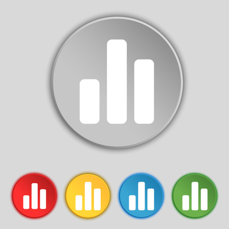 mortgage rates: Growth and development concept. graph of Rate icon sign. Symbol on five flat buttons. Vector illustration
