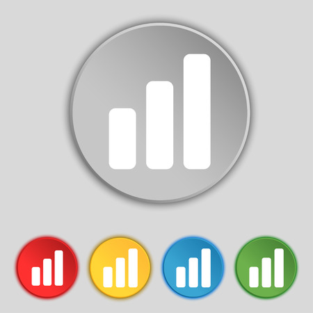 upturn: Growth and development concept. graph of Rate icon sign. Symbol on five flat buttons. Vector illustration