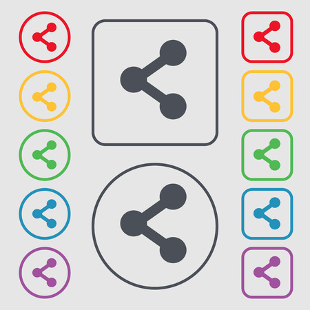Share icon sign. symbol on the Round and square buttons with frame. Vector illustration
