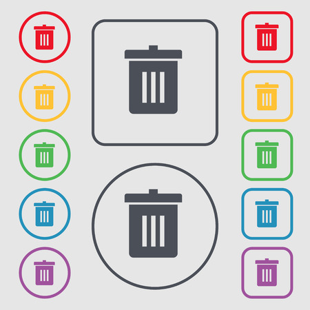 utilization: Recycle bin, Reuse or reduce icon sign. symbol on the Round and square buttons with frame. Vector illustration