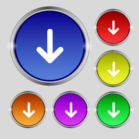 down load: Arrow down, Download, Load, Backupicon sign. Round symbol on bright colourful buttons. Vector illustration Illustration