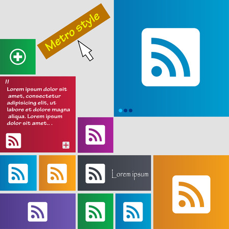 rss feed: RSS feed icon sign. Metro style buttons. Modern interface website buttons with cursor pointer. Vector illustration