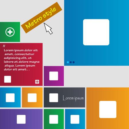 boton stop: detener bot�n icono de signo. Botones de estilo Metro. Sitio web interfaz modernos botones con el puntero del cursor. Ilustraci�n vectorial