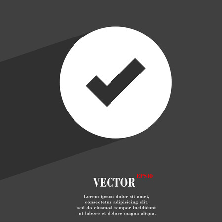 tik: Check mark, tik  icon symbol Flat modern web design with long shadow and space for your text. Vector illustration