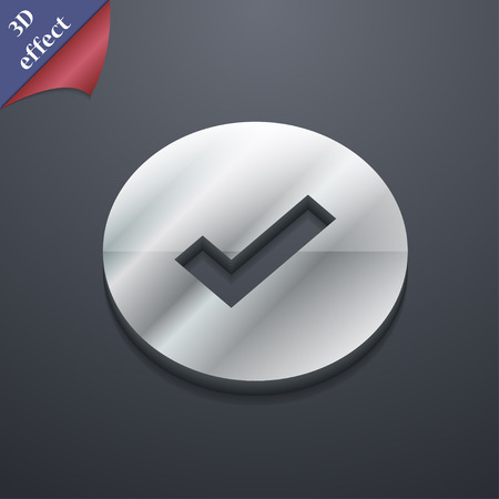 Check mark, tik  icon symbol. 3D style. Trendy, modern design with space for your text Vector illustration