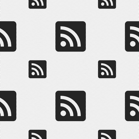 rss feed: RSS feed icon sign. Seamless pattern with geometric texture. Vector illustration