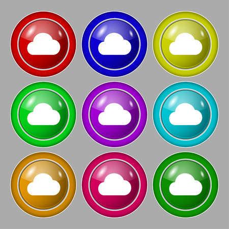 on cloud nine: cloud icon sign. symbol on nine round colourful buttons. Vector illustration Illustration