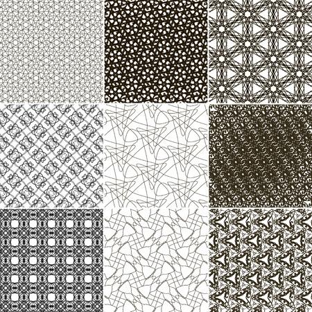 Set of 9 abstract vintage geometric wallpaper. NO seamless pattern background. Vector illustration Illustration