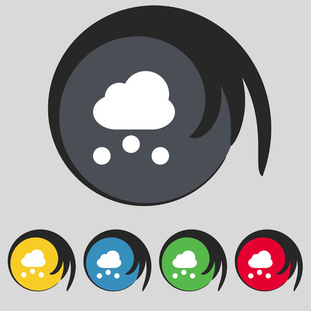 stormy clouds: snowing icon sign. Symbol on five colored buttons. Vector illustration
