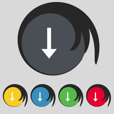 down load: Arrow down, Download, Load, Backup icon sign. Symbol on five colored buttons. Vector illustration