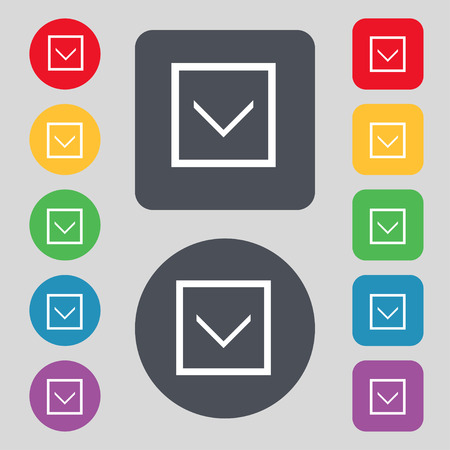 down load: Arrow down, Download, Load, Backup icon sign. A set of 12 colored buttons. Flat design. Vector illustration Illustration