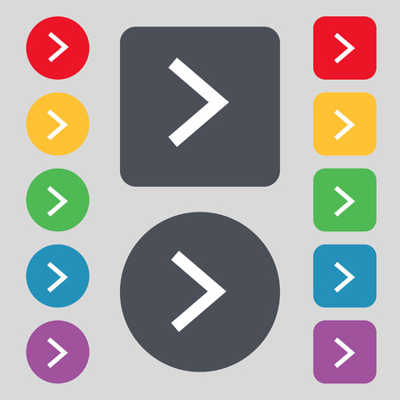 Arrow right, Next icon sign. A set of 12 colored buttons. Flat design. Vector illustration