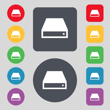 dvd rom: CD-ROM icon sign. A set of 12 colored buttons. Flat design. Vector illustration