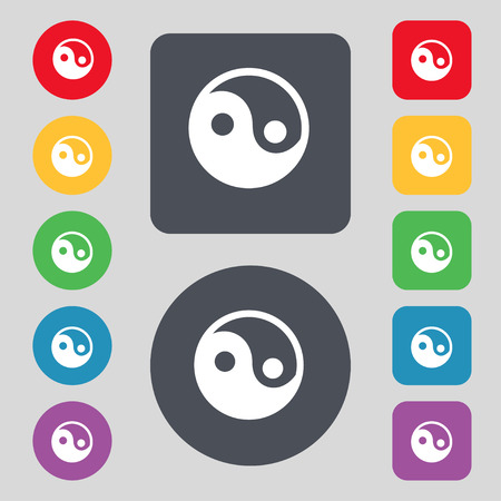 yinyang: Ying yang icon sign. A set of 12 colored buttons. Flat design. Vector illustration