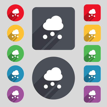 stormy clouds: snowing icon sign. A set of 12 colored buttons and a long shadow. Flat design. Vector illustration Illustration