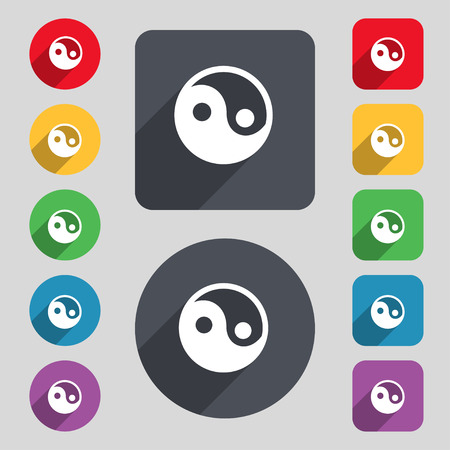 yinyang: Ying yang icon sign. A set of 12 colored buttons and a long shadow. Flat design. Vector illustration Illustration